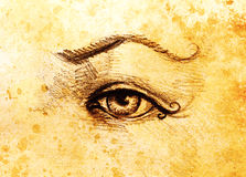 Sketch of woman eye with eyebrow, drawing on abstract background. Sketch of woman eye with eyebrow, drawing on abstract background Stock Photography