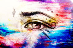 Sketch of woman eye with eyebrow and makeup ornaments, drawing on abstract background. Royalty Free Stock Image