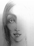 Sketch of woman face. Calm face of young lady with kind glance and tiny smile. Hand drawn unfinished portrait. Pencil on paper Stock Photos