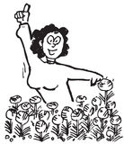 Sketch of woman and flowers Stock Images