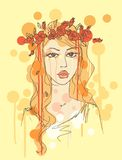 Sketch of a woman with flowers in her hair Royalty Free Stock Image