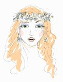 Sketch of a woman with flowers in her hair Royalty Free Stock Photos