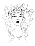 Sketch of a woman with flowers in her hair Royalty Free Stock Images
