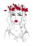 Sketch of a woman with flowers in her hair Stock Images