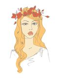 Sketch of a woman with flowers in her hair Royalty Free Stock Photo