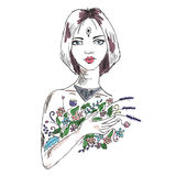 Sketch of the woman with flowers Royalty Free Stock Images