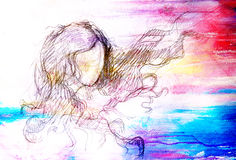 Sketch of woman and fluttering hair. pencil drawing on old paper. Color effect. Royalty Free Stock Images