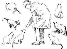Sketch of a woman with her pets Stock Images