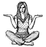 Sketch woman in lotus pose with open hands royalty free illustration