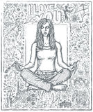 Sketch Woman Meditation In Lotus Pose Against Love Story Backgro Royalty Free Stock Image