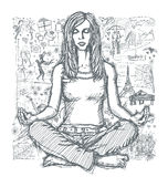 Sketch Woman Meditation In Lotus Pose Against Love Story Background 03 vector illustration
