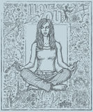 Sketch Woman Meditation In Lotus Pose Against Love Story Backgro Stock Images