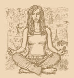 Sketch Woman Meditation In Lotus Pose Against Love Story Stock Image