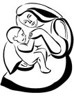 Sketch of a woman mother holding a baby Royalty Free Stock Photos