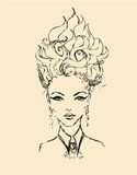Sketch of woman with original hair style Royalty Free Stock Photo