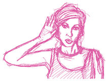 Sketch woman overhearing something Stock Image