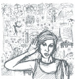 Sketch Woman Overhearing Something Against Love Story Background Stock Image