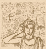 Sketch Woman Overhearing Something Against Love Story Background Stock Photo