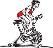 Sketch of Woman on stationary training bicycle Royalty Free Stock Photos