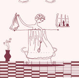 Sketch of woman taking bath. In retro style Stock Images