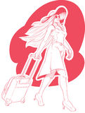 Sketch of Woman Tourist Travelling. A vector image of a woman dragging her suitcase while travelling happily. Drawn in sketch style, this vector is very good for Stock Images