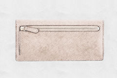 Sketch Of Woman Wallet. Sketch Of Woman Leather Wallet Royalty Free Stock Photography