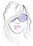 Sketch. Woman wearing sunglasses Royalty Free Stock Photography