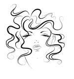 Sketch  of women. Sketch portrait of younger women with their eyes closed Royalty Free Stock Images