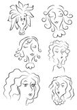 Sketch of women's faces Stock Image