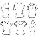 Sketch women's polo t-shirt Royalty Free Stock Photos