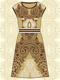 Sketch women's summer dress beige and brown colors fabric cotton, silk, jersey with oriental paisley pattern. Fashion design and i Stock Photos