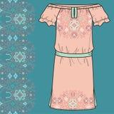 Sketch women's summer dress ethnic cross stitch geometric pattern in boho style. Royalty Free Stock Photos