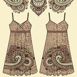 Sketch women's summer dress fabric cotton, silk, jersey with oriental paisley and animal print leopard pattern. Stock Photography