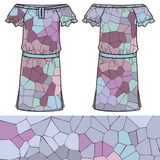 Sketch women's summer dress. Fashion design and illustration. Sketch women's summer dress fabric cotton, silk, jersey spectrum geometric background made of Royalty Free Stock Photo