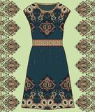 Sketch women's summer dress green and brown colors fabric cotton, silk, jersey with oriental paisley pattern. Fashion design and i Stock Photos