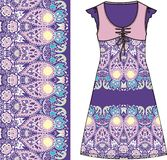 Sketch women's summer dress purple and pink colors fabric cotton, silk, jersey with oriental paisley pattern. Fashion design and i Stock Image