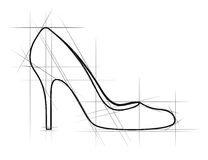 Sketch of women shoe Royalty Free Stock Photos