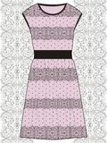 Sketch women summer lace dress pink and black colors eco fabric with oriental paisley pattern, boho style. Stock Image