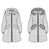 The sketch womens snow jacket with hood and fur machapuchare. And pockets Stock Photo