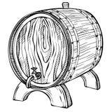 Sketch Wooden barrel. Hand drawn vintage illustration in engraved style. Alcohol, wine, beer or whiskey old wood keg, cask vector illustration