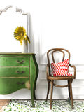 Sketch of wooden chair and green chest of drawers Royalty Free Stock Photos