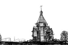 Sketch wooden church Stock Image