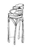Sketch wooden high bar stool Royalty Free Stock Photography