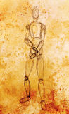 Sketch of wooden posable drawing figure for artists on abstract background. Sketch of wooden posable drawing figure for artists on abstract background Royalty Free Stock Photos