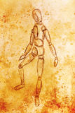 Sketch of wooden posable drawing figure for artists on abstract background. Sketch of wooden posable drawing figure for artists on abstract background Royalty Free Stock Photography
