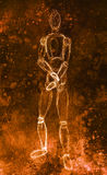 Sketch of wooden posable drawing figure for artists on abstract background. Stock Image