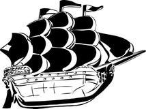Sketch wooden vessel under sail Stock Photo
