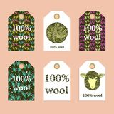 Sketch 100% wool tags Stock Image