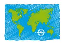 Sketch of world map Stock Photography