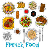 Sketch of worldwide popular french dishes Royalty Free Stock Image